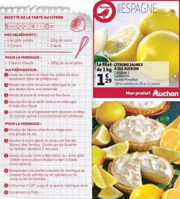 Tarte au citron, Auchan & Moi